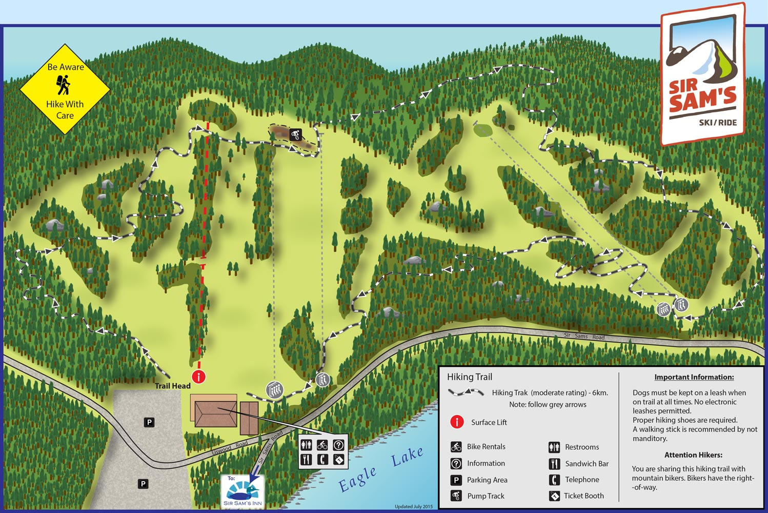 Map of Sir Sam's hiking trails