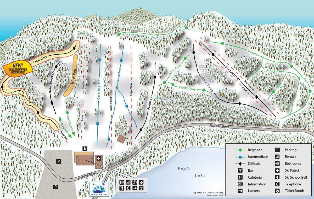 Map of the ski trails at Sir Sam's. With a variety of terrain, there's skiing and snowboarding for all ages and abilities, including braod open runs, intimate woodland trails, ski and snowboard cross, moguls, and terrain park
